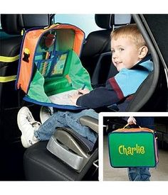 Personalized Car Activity Organizer by Personal Creations. $24.99. A Personal Creations Exclusive! Keep Kids Entertained And The Car Or Minivan Tidy With Our Handy Nylon Activities Organizer. Great For Road Trips, It Straps Easily To The Front Seat And Features 4 Pockets For Pencils, Crayons, And More. A Fold-Out Tray Zips Open To Provide A Stable Surface For Coloring Or Drawing. We Personalize It With Any Name, Up To 9 Characters. Wipe Clean With A Damp Cloth. Meas...