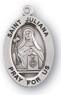 Sterling Silver Oval Shaped St. Juliana Medal by HMH | Catholic Shopping .com