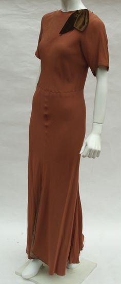 8a90ff5ba89 1930s cocoa brown evening gown