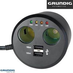 Grundig Multipresa Adattatore Auto 2 Prese Accendisigari + 2 Prese USB A36072