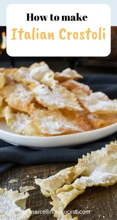 Italian Crostoli recipe Italian Crostoli recipe Crostoli are a crispy fried Italian pastry which are popular during carnvale and many other celebrations. Try stopping at just one impossible! The post Italian Crostoli recipe appeared first on Finger Food. Italian Cookie Recipes, Italian Cookies, Italian Desserts, Italian Dishes, Italian Pastries, Sweet Pastries, Crostoli Recipe, Crepes, Italian Biscuits