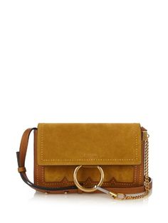 CHLOÉ Faye small suede and leather cross-body bag. #chloé #bags #shoulder bags #lining #suede #lace #