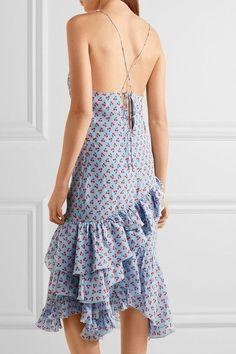 Altuzarra - Corona Ruffled Printed Silk Dress - Sky blue - FR