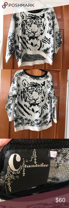 Sweater from LF! Super cute leopard sweater - it is SO soft and pretty warm. One size fits all. I have only worn this one time and got so many compliments! Originally from LF. LF Sweaters Crew & Scoop Necks