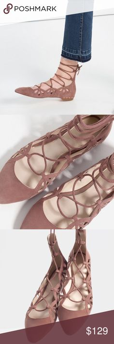 49a0a91235810 Zara brand new size 8 leather taupe lace up flats Cow leather Zara lace up  flats in blush size 8 brand new Zara Shoes Flats   Loafers
