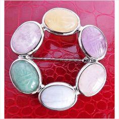 Vintage quartz Scottish gemstone scarab brooch .. Celtic 925 silver jewellery Opis Vintage Jewellery