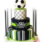 Noah celebrated his Bar Mitzvah this past weekend with this soccer themed Bar Mitzvah cake. The cake was inspired our popular basketball Bar Mitzvah cake f