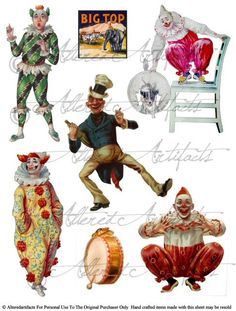 Printable Clowns Clip Art Printable Vintage Circus Preformers Paper Doll Scrap Theater Puppets Digital Collage Sheet Instant Download by AlteredArtifacts on Etsy https://www.etsy.com/listing/222283477/printable-clowns-clip-art-printable