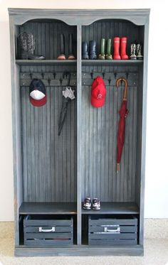 Once A Bookshelf… Now Mudroom Lockers!