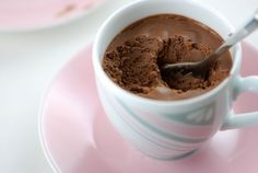 Chocolate pot de creme. So easy and so delicious. Be sure to use really hot coffee so it cooks the eggs.