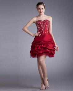 osell wholesale dropship Taffeta Ruffle & Beads Sweetheart Mini Women Cocktail Prom Dress $88.83