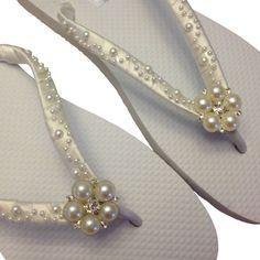 Pearl Flip Flops  Ivory Bridal Flip Flops  by APricelessPrincess