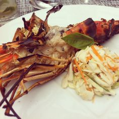 Large prawns and palm heart salad in Mauritius