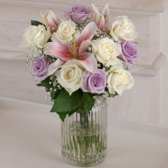 Next – Flowers and Gift Cards delivered next day - Lilac and Cream Rose Vase Would love these as a bouquet to match the purple theme we have. And also as table decorations x Next Flowers, Purple Themes, Rose Vase, Next Day, Cream Roses, Flowers Online, Getting Married, Lilac, Glass Vase