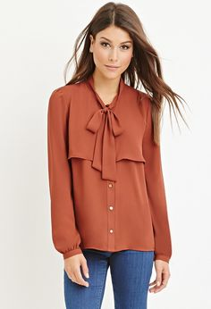 FOREVER 21 Flounced Self-Tie Blouse