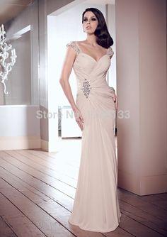 Prom kleider 2015 neue mode perlen flügelärmeln chiffon lange partykleider sexy schatz hals abendkleid vestido de festa //Price: $US $135.30 & FREE Shipping //     #clknetwork