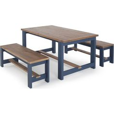 Bala Dining Table and Bench Set, Solid Wood and Blue from Made.com. A classic collection with a rustic feel, Bala gives traditional farmhouse pieces..