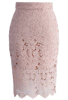 CHICWISH Crochet of Rose Pencil Skirt in Patel Pink