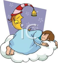 Royalty Free Clipart Image: Girl Deep in Slumber on a Cloud with ...