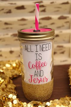 All I Need Is Coffee And Jesus Mason Jar Tumbler by Sweetlylemon #tumbler #masonjar #masonjarcup #custom #personalized #cup #jar #allineedis #coffee #jesus #god #allineediscoffeeandjesus #christian #spiritual #faith #glitter #glittermasonjar #gold