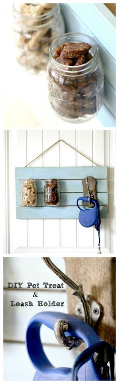 pet treat and leash holder DIY : Keep the treats out in the open where you can give to your dog with this shabby chic holder