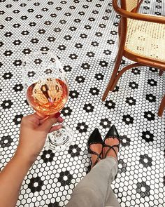 Liberte Cafe, Budapest, Tiles, Rose wine, Glass, Pointy shoes