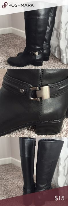 """Bandolino Black Tall Boots Size 6 Excellent Condition!  Worn a couple times ...   1 1/2"""" heel Nickel hardware     Smoke free home Bandolino Shoes Heeled Boots"""