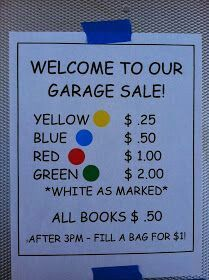 Garage sale from donations from the town or a whole town sale where they purchase a table to sell things.