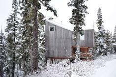 Scott & Scott Architects. The approach was to avoid machine excavation, to withstand the annual snowfall, to resist the dominant winds and to build in a manner which elevates the building above the height of the accumulated snow on the ground.  Materials are left in their raw form. The exterior is cedar. The 100 sqm cabin is without electricity and is heated by a wood stove. Water is carried in.  http://architizer.com/projects/alpine-cabin/