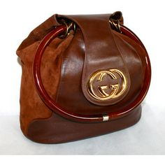 8107c75c2033 Vintage GUCCI Hobo Slouchy Brown Suede Leather Large Medallion Tortoise  Handle Tote -AUTHENTIC- Vintage