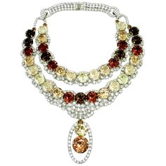 One of a Kind Signed Robert Sorrell Rhinestone Necklace | From a unique collection of vintage drop necklaces at http://www.1stdibs.com/jewelry/necklaces/drop-necklaces/