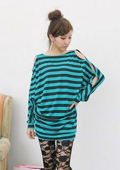 Women New Style Autumn Korean Style Sexy Off the Shoulder Bat-wing Sleeve Cross Stripe Green Cotton T-shirt One Size@WH0166gr