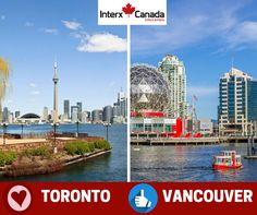 #Toronto ou #Vancouver? Qual cidade que você gostaria de realizar seu #intercâmbio? Entre em contato com a Interx Canadá Intercâmbio para receber informações de cada #destino e #promoções imperdíveis para 2017!!