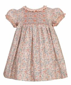 Anavini Infant / Toddler Girls Orange Fall Floral Smocked Dress with Pleats