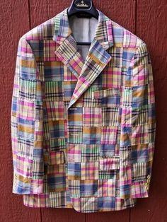 811c0cc4ed3 BROOKS BROTHERS Men s Madras Plaid Patchwork Cotton Blazer Sport Coat 42  Short  BrooksBrothers  ThreeButton