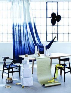 Rideau tie and dye bleu