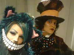 Cheshire cat & mad hatter, alice in wonderland, make up, diy costumes, cosplay, halloween, make up