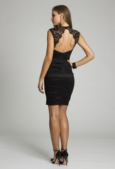 Short Dresses - Short Satin Dress with Lace Detail from Camille La Vie and Group USA