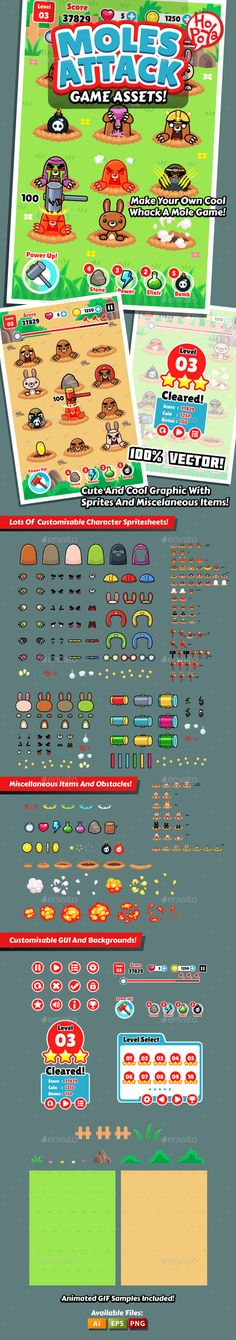 Moles Attack Game Assets — Vector EPS #cartoon #hole • Download ➝ https://graphicriver.net/item/moles-attack-game-assets/9982123?ref=pxcr