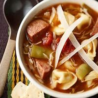 Super Easy Sausage and Tortellini Soup  To make this simple soup, add tortellini, smoked sausage, tomatoes, and green beans to canned onion soup.
