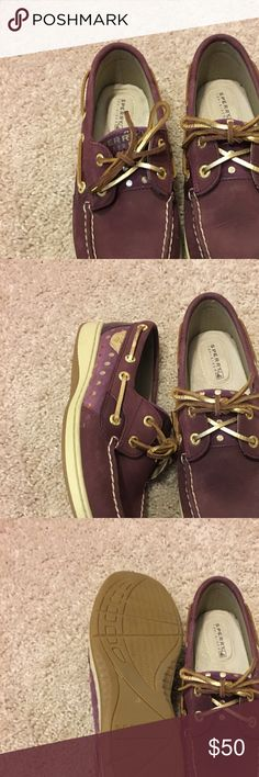 Burgundy sperrys Burgundy with gold poka dots, perfect condition, only worn a handful of times. Sperry Top-Sider Shoes