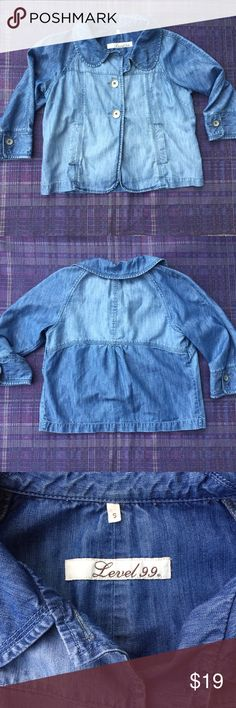 LEVEL 99 Crop Denim Swing Jacket So cute! Very soft, slightly distressed swing jacket. Three quarter sleeves. Cute button details and two pockets. No tears, stains or smells! level 99 Jackets & Coats Jean Jackets