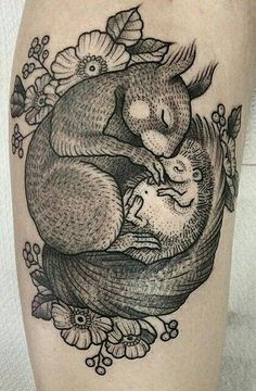 Rabbit and hedgehog tattoo by Susanne König #rabbit #hedgehog #tattoo