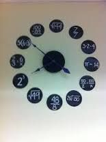 clock to teach students maths concepts Classroom clock. Black poster board, white paint pen and HL clock kit. {pic only}Classroom clock. Black poster board, white paint pen and HL clock kit. {pic only} Math Clock, Classroom Clock, Math Classroom Decorations, High School Classroom, Highschool Classroom Decor, Classroom Ideas, Classroom Board, Classroom Displays, Classroom Resources