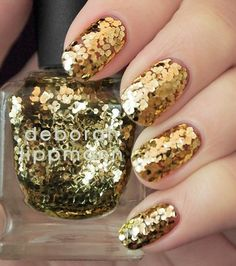 Deborah Lippmann:Shake Your Groove Thing (is like tiny mirrors that glow bright gold; apparently this polish is extremely difficult to remove)