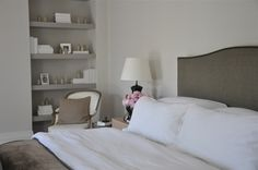 I love the whites and greys~ Bookshelf Storage, Bookshelves, Painted Built Ins, Peaceful Bedroom, Master Bedroom, Bedroom Decor, Guest Bed, Simple House, Beautiful Bedrooms