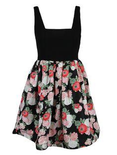 Alice + Olivia womens black pink bouquet skirt sleeveless dress 6