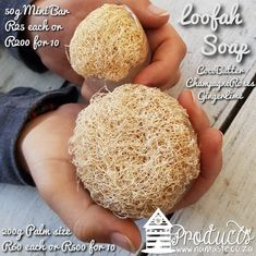 Hey y'all, introducing the #Mini #LoofahSoap with #Natural #Loofah and #Glycerin #Soap the only thing not natural is the the delicious fragrances #CocoButter #GingerLime and #ChampagneRoses  Can be made up for you without fragrance if you are wanting absolutely natural.  I love both sizes in my bathroom 💕 #BigAndSmall *200g Palm size R60 each or R500 for 10 *50g Mini bar R25 each or R200 for 10 #NamasteNaturals #NamasteProducts Natural Loofah, Glycerin Soap, Namaste, Fragrances, Best Sellers, Palm, Lime, Bathroom, Shop