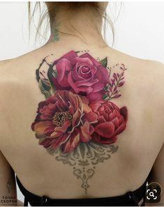 Tattoo Anastasiya Dadeeva - tattoo's photo In the style Realistic, Female, Flowers, Ornamen Rose Tattoos, Body Art Tattoos, Girl Tattoos, Sleeve Tattoos, Tattoos For Women, Tatoos, Beautiful Flower Tattoos, Pretty Tattoos, Colorful Flower Tattoo