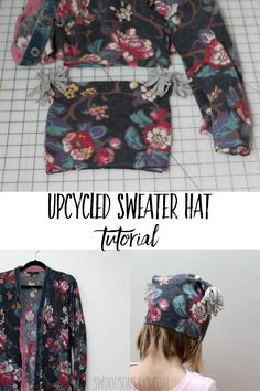 Get cozy this winter and turn an old sweater into a new hat! This tutorial shows how to make a hat from a sweater with a fun upcycle sewing tutorial. #sewing #upcyle Sweater Hat, Old Sweater, Sweaters, Sewing Tutorials, Sewing Projects, Sewing Patterns, Sewing Ideas, Sewing Tips, Diy Valentine's Pillows